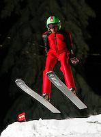 Ski jumping in Schrøderbakken, just outside Oslo, Norway.