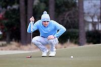 PINEHURST, NC - MARCH 02: Austin Greaser of the University of North Carolina lines up a putt on the third hole at Pinehurst No. 2 on March 02, 2021 in Pinehurst, North Carolina.