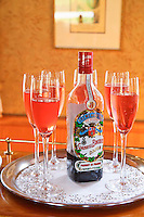 L'Impressionniste river barge cruise in Burgundy France with European Waterways. Kir Royale, local creme de cassis and champagne on board.