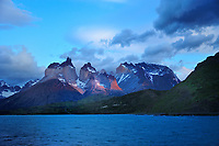 Chile - National Park Torres del Paine<br /> After passage of a black weather front last morning glow on the Torres del Paine Massif
