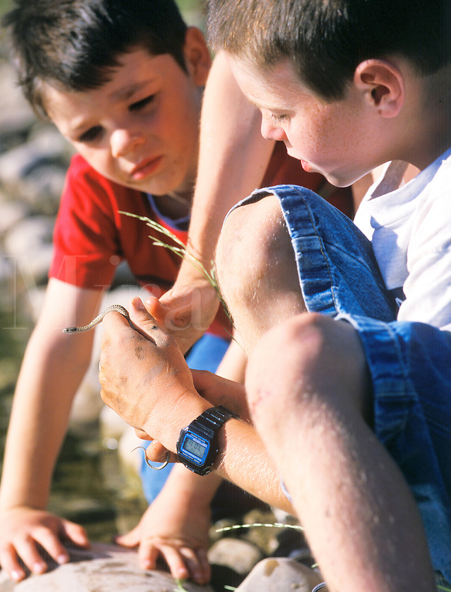 Youthful boys holding a snake found outdoors at a lake camping