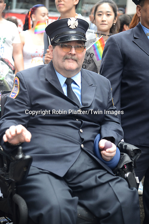 Gene Walsh attends the 2015 NYC Pride March on June 28, 2015 on Fifth Avenue in New York City. <br /> <br /> photo by Robin Platzer/Twin Images<br />  <br /> phone number 212-935-0770