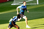 Leicester City FC's Leonardo Ulloa (r) and Ahmed Musa during training session. April 11, 2017.(ALTERPHOTOS/Acero)
