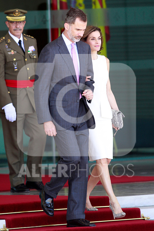 King Felipe VI of Spain and Queen Letizia during the Farewell with Honors previous to their official visit to the United Kingdom. July 11, 2017. (ALTERPHOTOS/Acero)