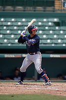 GCL Braves Javier Valdes (11) at bat during a Gulf Coast League game against the GCL Orioles on August 5, 2019 at Ed Smith Stadium in Sarasota, Florida.  GCL Orioles defeated the GCL Braves 4-3 in the second game of a doubleheader.  (Mike Janes/Four Seam Images)
