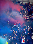 Rangers fans at Firhill for the Old Firm Glasgow Cup Final