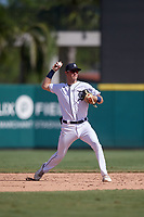 Detroit Tigers shortstop Gage Workman (27) throws to first base during a Florida Instructional League intrasquad game on October 24, 2020 at Joker Marchant Stadium in Lakeland, Florida.  (Mike Janes/Four Seam Images)