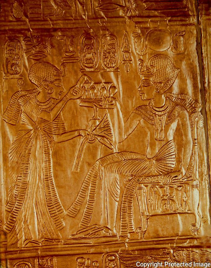 Egypt:  Golden Shrine, detail--gold relief sheet.  Treasures of Tutankhamun, Cairo Museum.  MMA 1976.