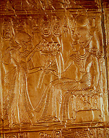 Egypt:  Golden Shrine, detail--gold relief sheet.  Treasures of Tutankhamun, Cairo Museum.  MMA 1976.