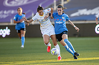 HERRIMAN, UT - JULY 12: Arielle Ship #17 of Utah Royals FC plays for the ball Tierna Davidson #26 of Chicago Red Stars during a game between Utah Royals FC and Chicago Red Stars at Zions Bank Stadium on July 12, 2020 in Herriman, Utah.
