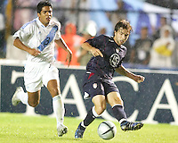 Bobby Convey centers the ball during a 0-0 tie at Estadio Mateo Flores in Guatemala City, Guatemala, Wednesday, Sept. 7, 2005.