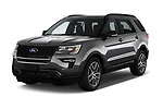 2018 Ford Explorer Sport 5 Door SUV angular front stock photos of front three quarter view