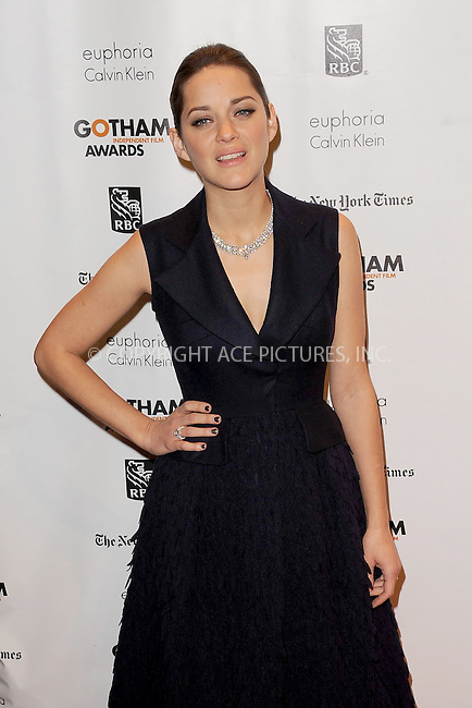WWW.ACEPIXS.COM . . . . . .November 26, 2012...New York City....Marion Cotillard attends the IFP's 22nd Annual Gotham Independent Film Awards at Cipriani Wall Street on November 26, 2012 in New York City ....Please byline: KRISTIN CALLAHAN - ACEPIXS.COM.. . . . . . ..Ace Pictures, Inc: ..tel: (212) 243 8787 or (646) 769 0430..e-mail: info@acepixs.com..web: http://www.acepixs.com .