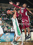 North Texas Mean Green forward Tony Mitchell (13), Troy Trojans forward Tim Owens (42) and Troy Trojans guard/forward Emil Jones (10) in action during the game between the Troy Trojans and the University of North Texas Mean Green at the North Texas Coliseum,the Super Pit, in Denton, Texas. UNT defeats Troy 87 to 65.....