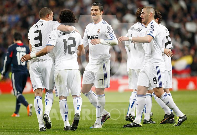 Madrid (16/03/2011).- Estadio Santiago Bernabeu..UEFA Champion League..Real Madrid 3 - Olympique Lyonnais 0.Pepe, Marcelo, Cristiano Ronaldo, Benzema  celebran un gol...©Alex Cid-Fuentes/ALFAQUI...