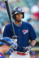 Oklahoma City RedHawks (of) Jimmy Paredes (38) in action against the Round Rock Express during the Pacific Coast League baseball game on August 25, 2013 at the Dell Diamond in Round Rock, Texas. Round Rock defeated Oklahoma City 9-2. (Andrew Woolley/Four Seam Images)