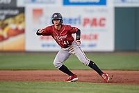 Altoona Curve Jared Oliva (41) leads off first base during an Eastern League game against the Erie SeaWolves on June 3, 2019 at UPMC Park in Erie, Pennsylvania.  Altoona defeated Erie 9-8.  (Mike Janes/Four Seam Images)