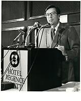 Robert Bourassa discours au HYATT, le 26 avril 1979<br /> <br /> PHOTO :  Agence Quebec Presse
