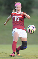 NWA Democrat-Gazette/ANDY SHUPE<br /> Arkansas' Katie Moore sets up a Claire Kelley goal against Vanderbilt Thursday, Oct. 6, 2016, during the first half of play at Razorback Field in Fayetteville. Visit nwadg.com/photos to see more photographs from the game.
