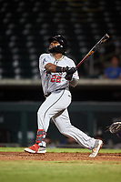 Scottsdale Scorpions Trey Harris (22), of the Atlanta Braves organization, hits a home run during an Arizona Fall League game against the Mesa Solar Sox on September 18, 2019 at Sloan Park in Mesa, Arizona. Scottsdale defeated Mesa 5-4. (Zachary Lucy/Four Seam Images)