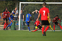 Ayo Olukoga score Romfords first goal uring Romford vs Coggeshall Town, Bostik League Division 1 North Football at Rookery Hill on 13th October 2018