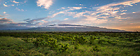 A panorama of Haleakala as seen from central Maui at sunset.