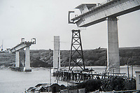 Friday 28 April 2017<br /> Pictured: Collect photograph pf the bridge during it's construction <br /> Re: Phill Loyd who was the first person on the scene when the Cleddau bridge collapsed during it's construction. On 2 June 1970 a 70 m (230 ft) cantilever being used to put one of the 150-ton sections into position collapsed on the Pembroke Dock-side of the estuary narrowly missing houses in the village of Pembroke Ferry
