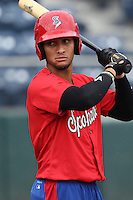 Diego Cedeno (7) of the Spokane Indians before a game against the Everett AquaSox at Everett Memorial Stadium on July 25, 2015 in Everett, Washington. Spokane defeated Everett, 10-1. (Larry Goren/Four Seam Images)