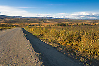 Trans Alaska oil pipeline along the James Dalton Highway, (Haul road) Alaska.