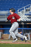 Mahoning Valley Scrappers third baseman Gavin Collins (44) at bat during the first game of a doubleheader against the Batavia Muckdogs on August 17, 2016 at Dwyer Stadium in Batavia, New York.  Mahoning Valley defeated Batavia 10-3.  (Mike Janes/Four Seam Images)