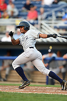 Staten Island Yankees outfielder Daniel Lopez (51) at bat during a game against the Batavia Muckdogs on August 7, 2014 at Dwyer Stadium in Batavia, New York.  Staten Island defeated Batavia 2-1.  (Mike Janes/Four Seam Images)