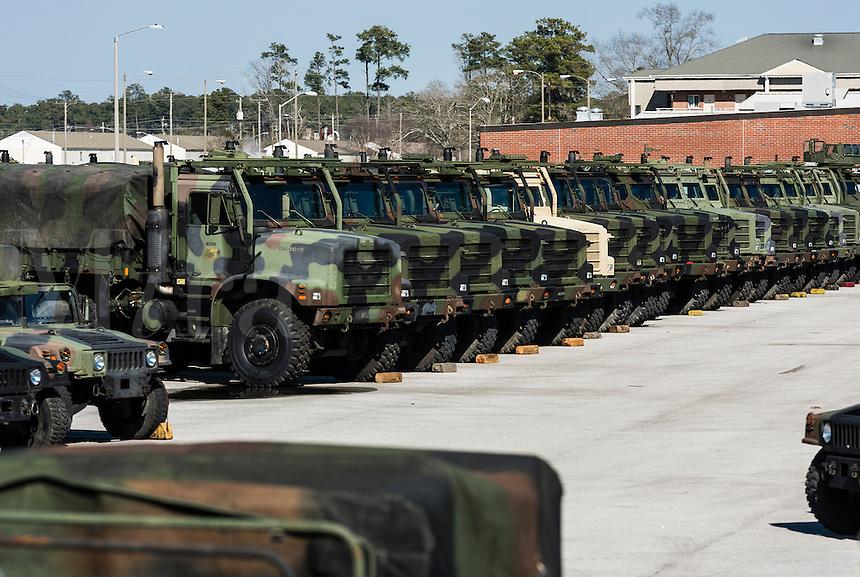Military trucks, Marine Corps Base Camp Lejeune, North Carolina, USA