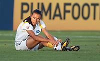 Marta pulls her sock back up. FC Gold Pride tied the Los Angeles Sol 0-0 at Buck Shaw Stadium in Santa Clara, California on July 23, 2009.