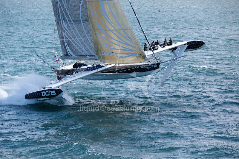 Aerial photo shoot of L'Hydroptère DCNS, Alain Thébault and his crew (Jacques Vincent, Yves Parlier, Jean Le Cam, Robert Douglas) sailing in San Francisco, California, USA.