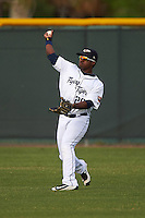 Lakeland Flying Tigers left fielder Christin Stewart (20) throws the ball in during a game against the Brevard County Manatees on April 20, 2016 at Henley Field in Lakeland, Florida.  Lakeland defeated Brevard County 5-2.  (Mike Janes/Four Seam Images)