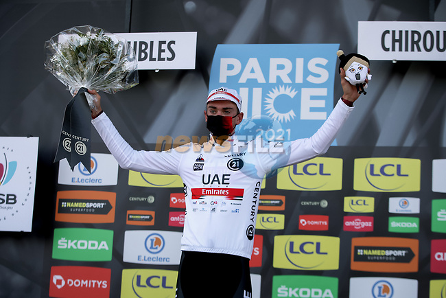 Brandon McNulty (USA) UAE Team Emirates takes over the young riders White Jersey at the end of Stage 4 of Paris-Nice 2021, running 187.5km from Chalon-sur-Saone to Chiroubles, France. 10th March 2021.<br /> Picture: ASO/Fabien Boukla | Cyclefile<br /> <br /> All photos usage must carry mandatory copyright credit (© Cyclefile | ASO/Fabien Boukla)