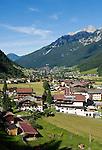 Austria, Tyrol, Stubai Valley, view across Neustift at Stubai Valley, district Milders with Stubai Alps