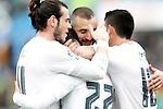 Real Madrid's Gareth Bale, Isco Alarcon, Karim Benzema and James Rodriguez celebrate goal during La Liga match. April 16,2016. (ALTERPHOTOS/Acero)