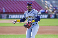 Burlington Bees second baseman Gleyvin Pineda (8) warms up in the outfield prior to a Midwest League game against the Wisconsin Timber Rattlers on April 26, 2019 at Fox Cities Stadium in Appleton, Wisconsin. Wisconsin defeated Burlington 2-0. (Brad Krause/Four Seam Images)