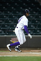 Ti'Quan Forbes (10) of the Winston-Salem Dash follows through on his swing against the Salem Red Sox at BB&T Ballpark on April 20, 2018 in Winston-Salem, North Carolina.  The Red Sox defeated the Dash 10-3.  (Brian Westerholt/Four Seam Images)