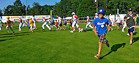 2 July 2011: Members of the Burlington American Little League take the field to join the players for the National Anthem at a game between the Vermont Lake Monsters and the Tri-City ValleyCats at Centennial Field in Burlington, Vermont. The Lake Monsters rallied from a 4-2 deficit to defeat the ValletCats 7-4 in NY Penn League action. Mandatory Credit: Ed Wolfstein Photo