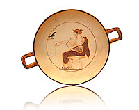 White Ground Kylix from a tomb in Delphi. Athenian 480-470 BC. Apollo depicted crowned in Myrtle Leaves, seated on a stool, with lion claw feet, dressed in a white peoples. In his left hand he has a liar and with his right hand he pours a libation from a naval-phiale. The Crow recalls his mythical love for the beautiful Aigle-Koroni, daughter of King Phlegyas. Delphi Archaeological museum.