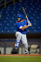 South Bend Cubs second baseman Christian Donahue (5) at bat during the second game of a doubleheader against the Lake County Captains on May 16, 2018 at Classic Park in Eastlake, Ohio.  Lake County defeated South Bend 5-2.  (Mike Janes/Four Seam Images)