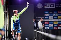 Tadej Pogacar (SVN/UAE-Emirates) at the race start in Antwerpen<br /> <br /> Elite Men World Championships - Road Race<br /> from Antwerp to Leuven (268.3km)<br /> <br /> UCI Road World Championships - Flanders Belgium 2021<br /> <br /> ©kramon