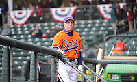 Head coach Jack Leggett (7) of the Clemson Tigers checks the rain during a delay in a game against the South Carolina Gamecocks on Saturday, March 2, 2013, at Fluor Field at the West End in Greenville, South Carolina. Clemson won the Reedy River Rivalry game 6-3. (Tom Priddy/Four Seam Images)
