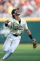Vanderbilt Commodores third baseman Austin Martin (16) tracks a popup during Game 12 of the NCAA College World Series against the Louisville Cardinals on June 21, 2019 at TD Ameritrade Park in Omaha, Nebraska. Vanderbilt defeated Louisville 3-2. (Andrew Woolley/Four Seam Images)