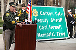 Carson City Sheriff Ken Furlong speaks at a ceremony to unveil a freeway sign dedicating I-580 in honor of Carson City Sheriff's Deputy Carl Howell at the Nevada Law Enforcement Officers Memorial in Carson City, Nev., on Tuesday, Dec. 8, 2015. Dep. Howell was killed in the line of duty on Aug. 15, 2015. <br /> Photo by Cathleen Allison/Nevada Photo Source