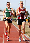 RAPID CITY, SD -- April 29, 2008: Kerry Washburn of Black Hills State and Stacy Girard of Chadron State run stride for stride during the women's 3,000-meter run during the Black Hills State University Frostbite Invitational college track and field meet Friday, April 4, 2008 at Lyle Hare Stadium in Spearfish. (Photo by Jeff Easton/Inertia)
