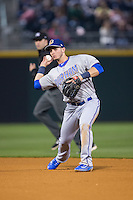 Durham Bulls second baseman Daniel Robertson (28) makes a throw to first base against the Charlotte Knights at BB&T BallPark on April 14, 2016 in Charlotte, North Carolina.  The Bulls defeated the Knights 2-0.  (Brian Westerholt/Four Seam Images)