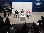 Bertram Allen of Ireland, John Whitaker of Great Britain and Puis Schwizer of Suitzerland attend a press conference after the Longines Speed Challenge as part of the Longines Masters of Hong Kong on 20 February 2016 at the Asia World Expo in Hong Kong, China. Photo by Moses Ng / Power Sport Images